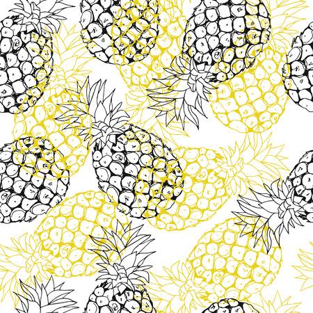 Vector pineapple background, summer seamless pattern, handdrawn tropical illustration on white Imagens - 40318749