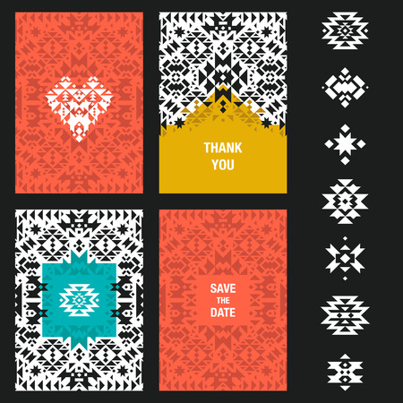 native american baby: Vector abstract card templates for design wedding cards, party invitations, birthday, Valentines day, cover with tribal,  navajo, ethnic, geometric patterns and elements