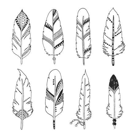 Handdrawn set of feathers isolated on white background. Vector tribal, ethnic, aztec, hipster style Ilustrace