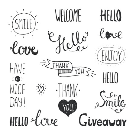 Vector photo overlays, hand drawn lettering