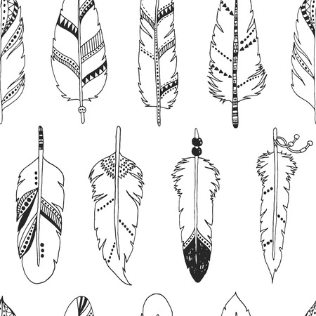 indian ink: Vector feather background, retro pattern