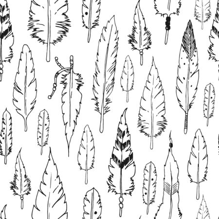 etnic: Vector feather background, retro pattern