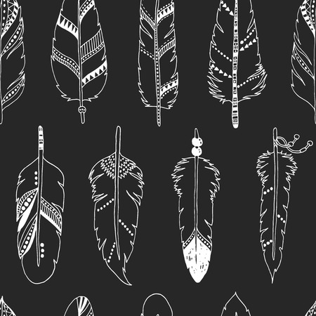 indian ink: Vector feather background, tribal pattern Illustration