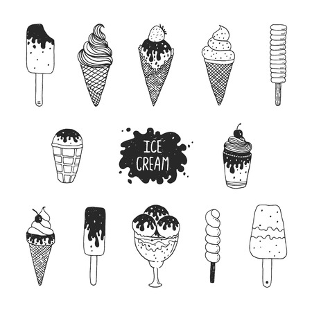 Vector collection of hand drawn ice cream Imagens - 41021947