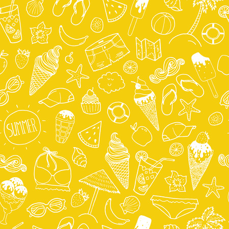 Vector summer hand drawn background Ilustrace