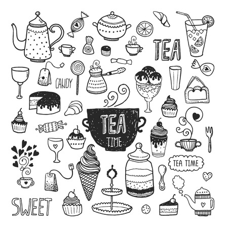 postres: Mano colecci�n hora del t� elaborado, vector conjunto del doodle con teteras, vidrio, magdalena, decoraci�n, t�, helado, taza y dulces
