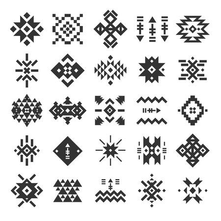 tribales: Vector abstracto geométrico elementos, patrón, colección étnica