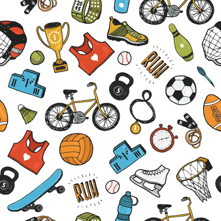 bicycle icon: Hand drawn doodle sport background. Vector cartoon pattern with sport icons