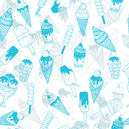 soft ice: Vector ice cream background, doodle ice cream pattern with cone, scoop, chocolate, sundae and cup. Hand drawn summer illustration