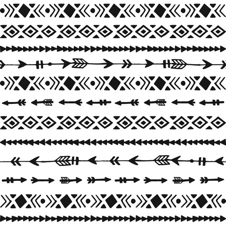 Tribal hand drawn background, ethic doodle pattern, ink illustration