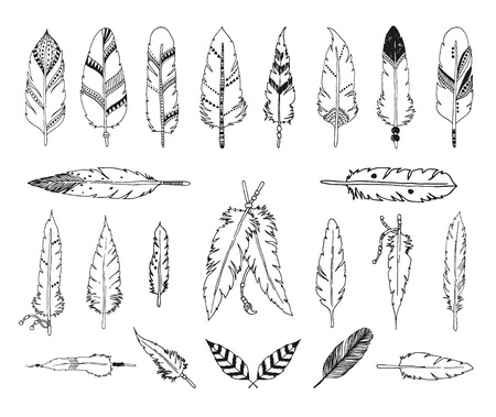 Hand drawn set of feathers isolated on white background. Vector tribal, ethnic, aztec, hipster style