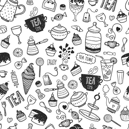Hand drawn tea time background, vector doodle pattern with teapots, glass, cupcake, decoration, tea, icecream, cup and sweets Ilustração