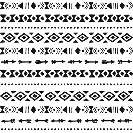 ethic: Tribal hand drawn background, ethic doodle pattern, ink illustration