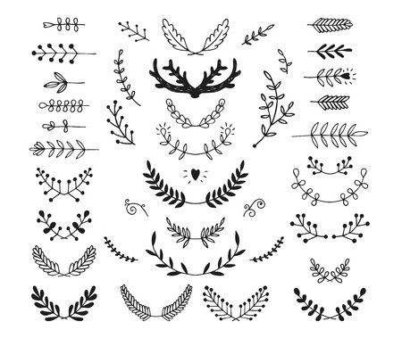 Set of vector hand drawn laurels, wreath, branches. Nature, floral doodle collection. Decoration elements for design invitation, wedding cards, valentines day, greeting cards Ilustrace