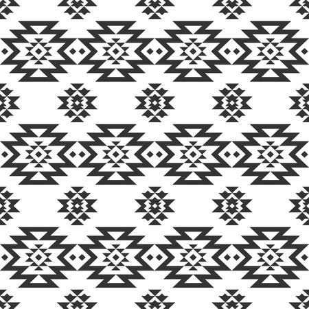 Vector geometric seamless pattern, tribal background, ethnic collection, navajo style on white background