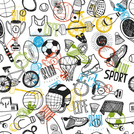 Hand drawn doodle sport background. Vector cartoon pattern with sport icons