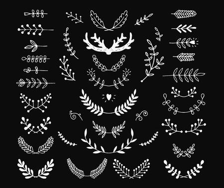 Reihe von Vektor-handgezeichnete Lorbeeren, kranz, Niederlassungen. Natur, mit blumen doodle Sammlung. Dekoration Elemente für Design Einladung, Hochzeitskarten, valentinstag, Grußkarten