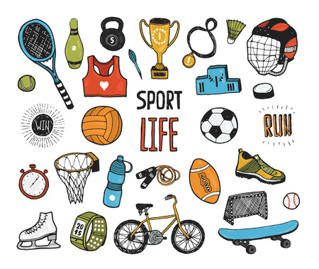 pencil cartoon: Hand drawn doodle sport collection. Vector sport icons, Cartoon healthy lifestyle set