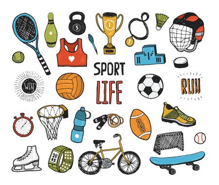 pelota caricatura: Mano doodle colecci�n deportiva. Iconos del deporte del vector, conjunto de estilo de vida saludable de la historieta