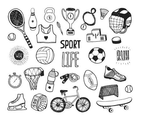 pelota caricatura: Mano doodle colección deportiva. Iconos del deporte del vector, conjunto de estilo de vida saludable de la historieta