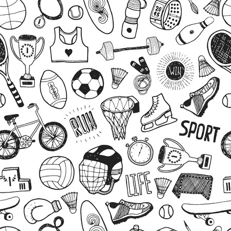 balones deportivos: Dibujado a mano deporte doodle de fondo. Vector patrón de dibujos animados con iconos del deporte Vectores