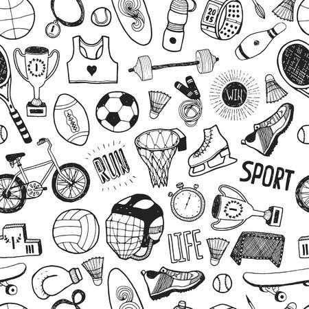 ballon foot: Tir� par la main doodle sportif. mod�le de dessin anim� vecteur avec des ic�nes du sport Illustration