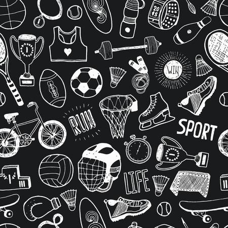손으로 그린 낙서 스포츠 배경입니다. 스포츠 아이콘 벡터 만화 패턴