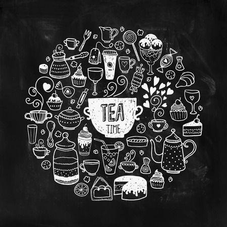 ice tea: Hand drawn tea time illustration, doodle set with teapots, glass, cupcake, decoration, tea, ice cream, cup and sweets of a circle on chalkboard Illustration