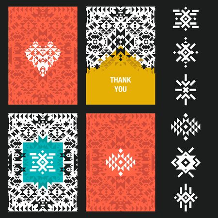 native american baby: abstract card templates for design wedding cards, party invitations, birthday, Valentines day, cover with tribal,  navajo, ethnic, geometric patterns