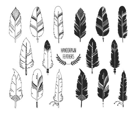 indian ink: Hand drawn set of feathers and silhouette isolated on white background. Ink illustration with different indian feathers isolated on white background Illustration