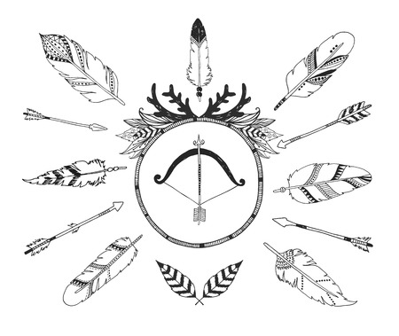 feather background: Hand drawn tribal collection with arrows and feathers for design, invitation and more.