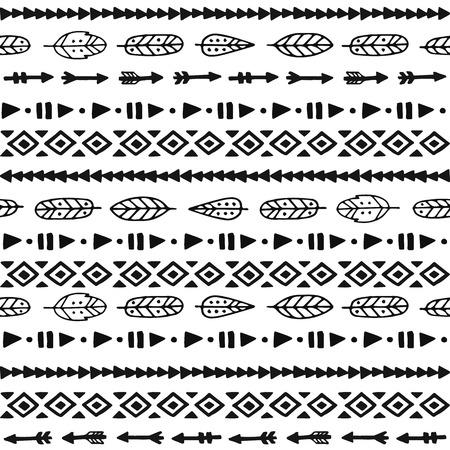 Tribal hand getekende achtergrond, ethiek, krabbel, streep patroon, inktillustratie