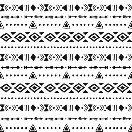 mexicans: Tribal hand drawn background, ethic, doodle, stripe pattern, ink illustration