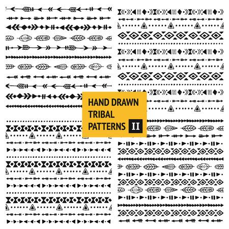 Tribal hand drawn backgrounds, ethic doodle patterns, ink illustration.  Ilustrace