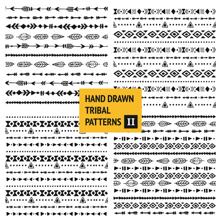 ethic: Tribal hand drawn backgrounds, ethic doodle patterns, ink illustration.  Illustration
