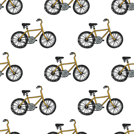 bicycle seat: Hand drawn doodle cycling background .