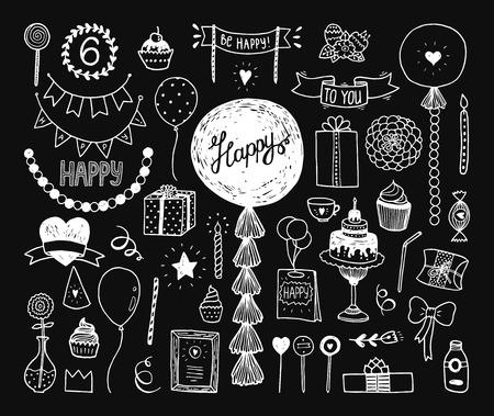 globos de cumplea�os: Dibujado a mano colecci�n de cumplea�os feliz con la torta, los elementos del partido, decoraci�n, guirnalda, el tejido, las bolas, tubo, Elementos de bosquejo para la invitaci�n Vectores