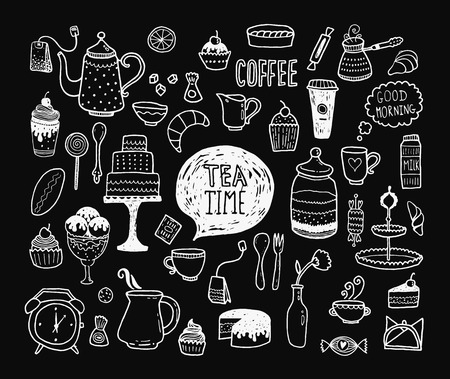 Hand drawn tea time collection, doodle set with teapots, glass, cupcake, decoration, tea, ice cream, cup and sweets Illustration