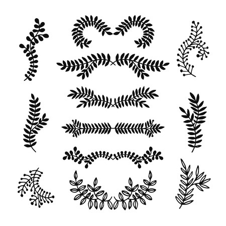 decoration elements: Set of hand drawn laurels, wreath, branches. Nature, floral doodle collection. Decoration elements for design invitation, wedding cards, valentines day, greeting cards