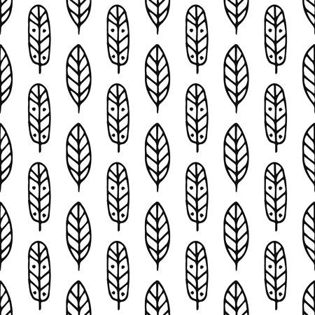 ethic: Tribal hand drawn background, ethic, doodle, feathers pattern, ink illustration Illustration