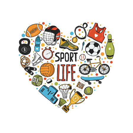 Hand drawn doodle sports symbols in heart. sport icons, cycling, skating, soccer, bowling, tennis, baseball. Cartoon healthy lifestyle set