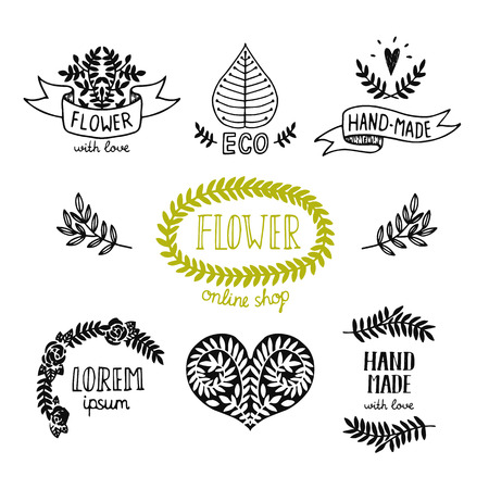hand made: Hand drawn natural icon, hand made shop, flowers store, for design your business