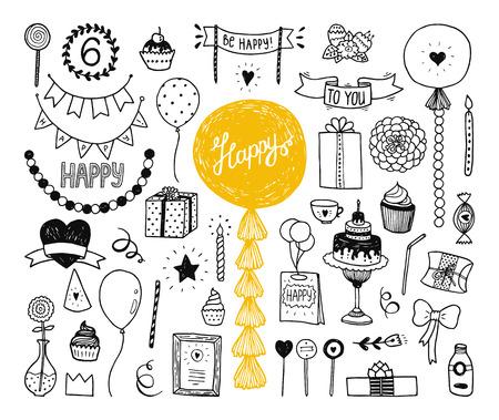 compleanno: Disegno a mano collezione di buon compleanno con la torta, elementi di partito, decorazione, ghirlanda, tessuto, palle, tubo, Elementi di doodle per l'invito Vettoriali