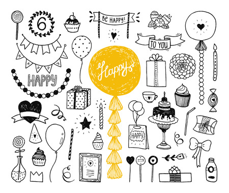 Hand drawn Happy birthday collection with cake, party elements, decoration, garland, tissue, balls, tube, doodle elements for invitation Stock Illustratie