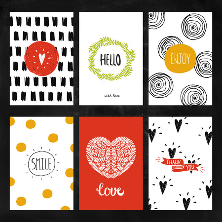 Hand drawn collection of Greeting cards with ink elements, hearts, branches, patterns for Design greeting cards, posters, invitations and flyers Vectores