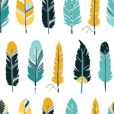 etnic: Vector Feather background, retro pattern, etnic doodle collection, tribal design. Ink hand drawn illustration with different indian feathers on white background Illustration