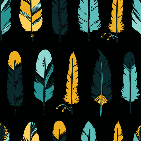 indian art: Vector Feather background, retro pattern, etnic doodle collection, tribal design. Ink hand drawn illustration with different indian feathers on white background Illustration