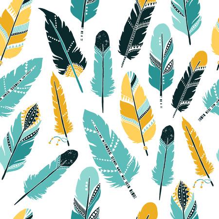 벡터 깃털 배경, 복고풍 패턴, 민족성 낙서 모음, 부족 디자인. 흰색 배경에 다른 인도 깃털을 가진 잉크 손으로 그린 그림 일러스트