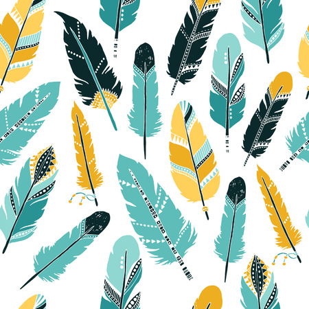 Vector Feather background, retro pattern, etnic doodle collection, tribal design. Ink hand drawn illustration with different indian feathers on white background Stock Illustratie