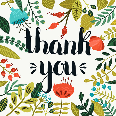 te negro: Tarjeta de agradecimiento. Dibujado mano del vector letras con flores lindo, romántico cartel para el diseño de la fecha, tarjetas del día de san y más